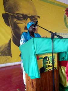 Comrade Teodora presenting for ALD Guinea-Bissau @ PAIGC National HQ
