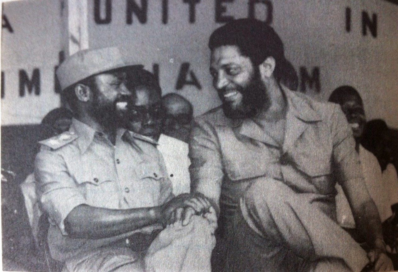 Samora Machel and Maurice Bishop at African Liberation Day in Grenada in 1982